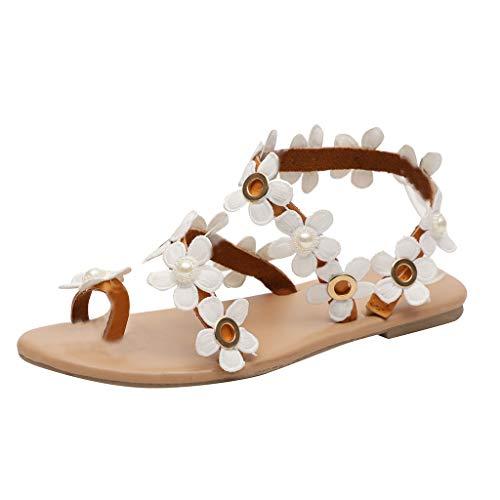 Floweworld Damen Sandalen Mode Frauen Böhmen Sandalen Blumendekoration Sandalen Wohnungen Slip On Schuhe Sandalen Urlaub Strand Schuhe