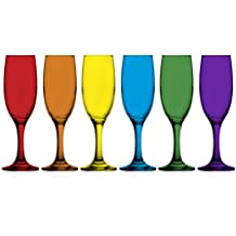 6 bunte Sektgläser 150ml Sektkelche Champagner Prosecco Sektglas Proseccoglas