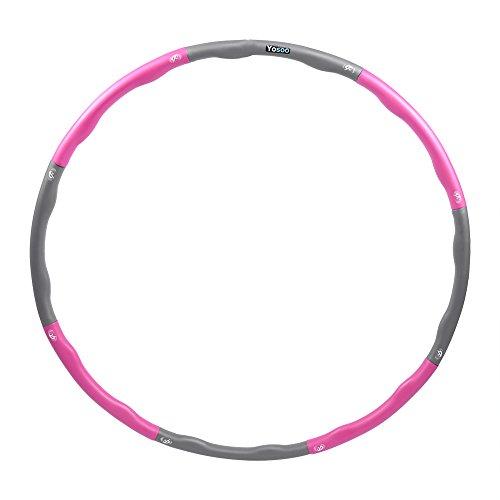 1,1kg Hula Hoop Fitness und Gymnastik Reifen Gewichtete Hula Hoop Abziehbar Erwachsene Hula Hoop (Rosa)