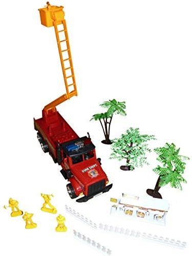 Set, A127, Set mit Feuerwehrauto, Drehleiter, Tankstelle und Feuerwehrmännern, Geschenk-idee für Jungen und Mädchen für Weihnachten und zum Geburtstag, Geburtstags-Geschenk (Weihnachts-ideen Für 6-jährigen Jungen)