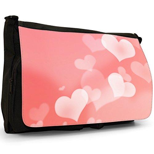 Nero cuori borsa scuola grande nero Angel Hearts Hearts Floating Through Pink Background
