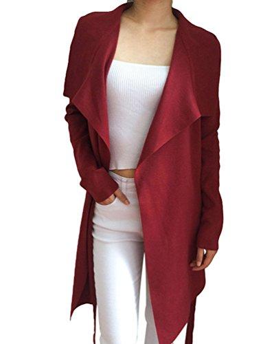 Sentao Donna Elegante Moda Lungo Cardigan Manica Lunga Drappeggio Maglione del Cappotto Pullover Giacca Vino rosso