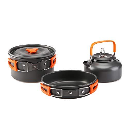 RTGFS Outdoor Kochgeschirr Camping Teekanne Set Pan Kombination Aluminiumoxid Outdoor Camping Wild Teekanne Topf Set Orange