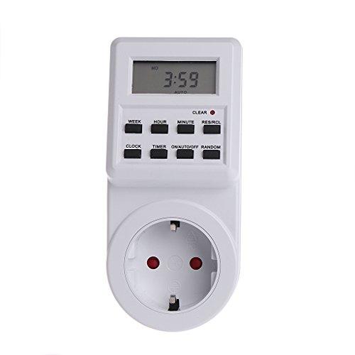 Qiman Plug-in programmierbare Timer-Schalter-Sockel mit Uhr Sommerzeit Zufallsfunktion -