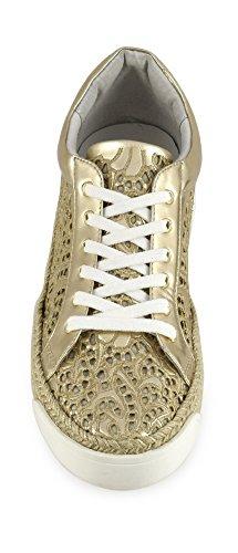 CAF NOIR EH925 Schuhe Silber Turnschuhe Plattform Seil Schnürsenkel 377 PLATINO