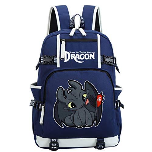 AUGYUESS - Mochila Escolar para portátil, diseño de dragón Azul Azul 2 XL