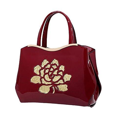 Dame Druck PU Handtasche Umhängetasche Messenger Bag Bankett Abendessen Paket,Red-OneSize
