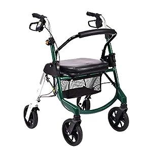 WZHWALKER Älterer Wanderer, Faltender Leichter Aluminium-Walker-Roller, Tragen Von Vier Rädern Zusätzlicher Wanderer, Grün