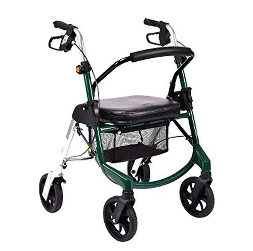 CLYZQX Älterer Wanderer, Faltender Leichter Aluminium-Walker-Roller, Tragen Von Vier Rädern Zusätzlicher Wanderer, Grün