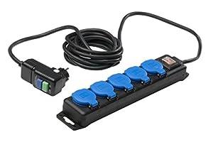 as-Schwabe 38604 Rallonge multiprise 5 prises Extérieur / IP44 Câble 5m H07RN-F 3G1,5 (Import Allemagne)