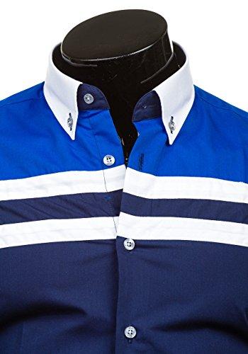 BOLF Langarm Herrenhemd Hemd Figurbetont Freizeit Classic Men Slim Fit 6905 Kobaltblau