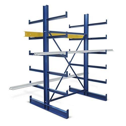 Kragarm-Grundregal, doppelseitig, BxTxH 1250x1240x (1000)x2000 mm, 2 Ständer, 10 Kragarme, 12 Lagereb -