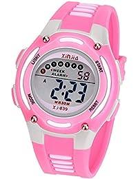 Reloj Digital para Niña Niño,Chicos Chicas Impermeabl Deportes al Aire Libre LED Multifuncionales Relojes de Pulsera con Alarma (Rosa)