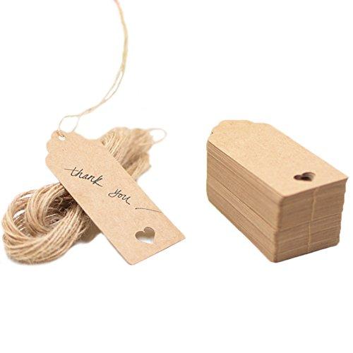HugeDE 100 Stück Klein Rechteck Herz Kraftpapier Geschenk Anhänger Geschenkanhänger Hängeetiketten Anhängeschilder mit Jute Schnur Braun