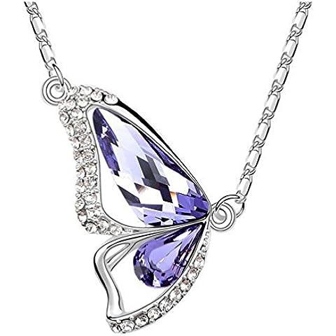 La Noche Estrellada los amantes mariposa de cristal púrpura de 18quilates chapado en plata 18K collar para mujeres