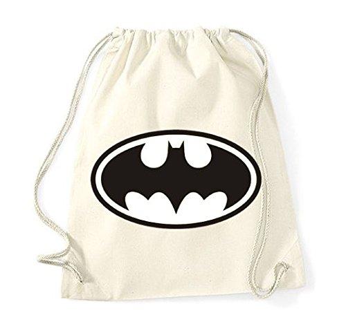 Youth designz algodón bolsa con diseño-Modelo Batman-Bolsa de deporte mochila bolsa yute Bolsa Hipster Fashion, color beige, tamaño Talla única