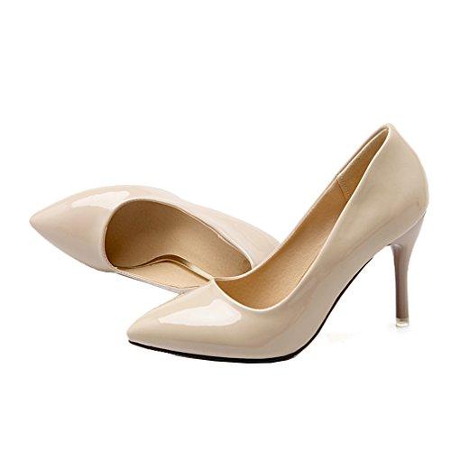 ENMAYER Womens Slip on Stiletto High Heels Pointed Toe Pumps Chaussures en cuir verni Beige