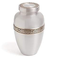 Funeral Urn by Liliane - Cremation Urn for Human Ashes - Hand Made in Brass and Hand Engraved - Fits the Cremated Remains of Adults as Well as the ashes of dogs, cats or other pets - Display Burial Urn at Home or in Niche at Columbarium (Silver Wildflowers in Pewter Finish)