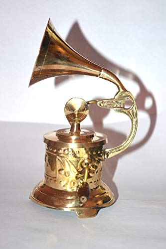 Nauticaz Handmade Vintage Gramophone Brass Canon SHOWPIECE Collectible ONLY for Home Decor- Music Decorative