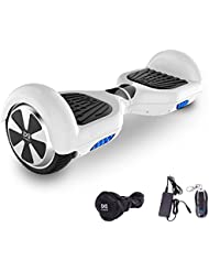 Cool&Fun Hoverboard 6,5 pouces Smart Scooter Skateboard Électrique Gyropode 2x350W (Blanc)