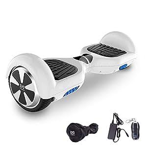 "Cool&Fun Hoverboard, Self Balance Scooter Elettrico, Balance scooter con LED, Due Ruote 6.5"", Batteria e Borsa inclusa, Da Shop Gyrogeek (Bianco)"