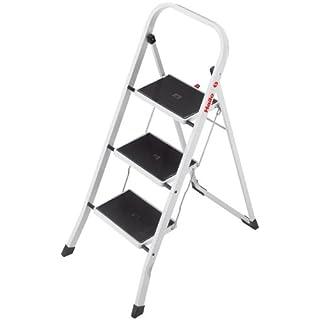 Hailo K40 BasicLine Stahl-Trittleiter, 3 Stufen, Sicherheitsbügel, Klappsicherung, einfach zu verstauen, belastbar bis 150 kg, 4376-901