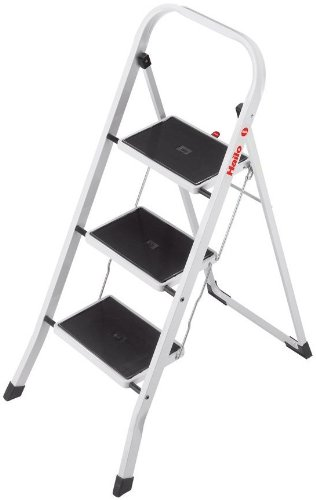 Hailo K20, Stahl-Klapptritt, 3 Stufen, Sicherheitsbügel, Klappsicherung, einfach zu verstauen, belastbar bis 150 kg, 4397-901