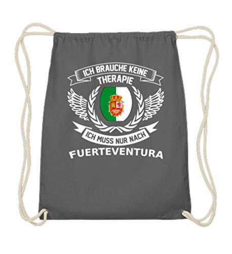Fuerteventura Flagge Kühlschrankmagnet Geschenk Magnet Auto Fußmatte Aufkleber Anhänger Fahrrad Shirt T-Shirt Pullover Hoodie Swe - Baumwoll Gymsac -37cm-46cm-Grafit Grau