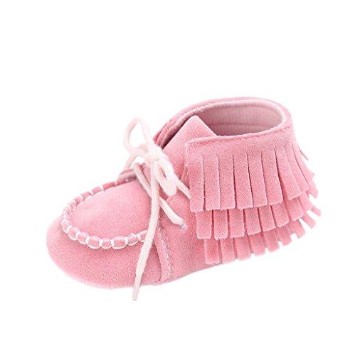 Baby Schuhe Auxma Baby-Krippe-Troddeln Bowknot-Schuhe Kleinkind-Turnschuhe beiläufige Schuhe für 3-6 6-12 12-18 Monat (11cm/3-6 M, Rosa) (Bow Wohnungen, Kleidung Schuhe)