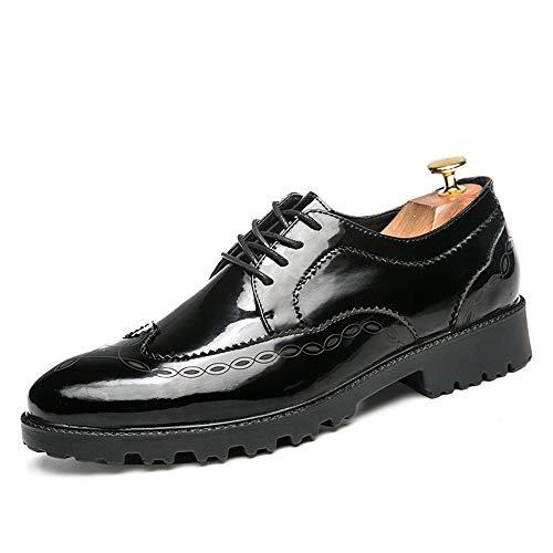 TONGDAUR Herren Business Oxford Casual Neuen Britischen Stil Spitze Modische Print Lackleder Brogue Schuhe Kleid Schuhe Lederschuhe für Herren (Color : Schwarz, Größe : 40 EU)