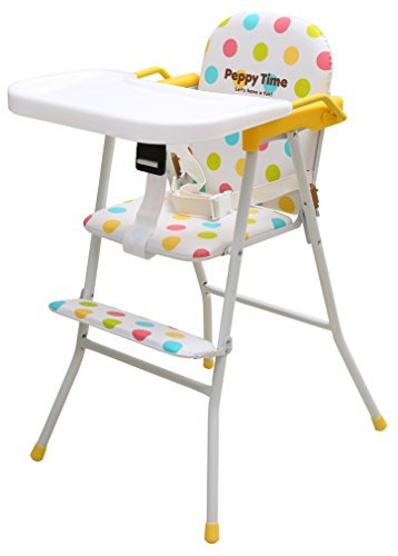 Kurtzy Kids Portable Highchair Aluminium with Foldable Tray Cushion with Adjustable Strap, 6 Months/XL (White)