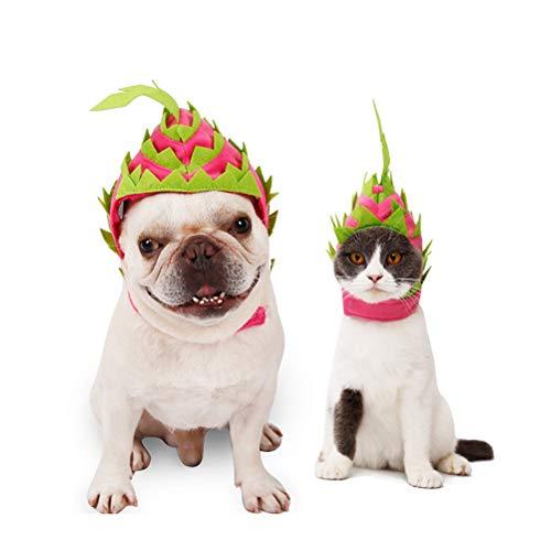 POPETPOP Kostüm für Tiere-2019 Neue Hund Lustiger Hut Katze Drachenfrucht Mit Kapuze Haustier Halloween Kostüm Zubehör Atmungsaktive Kappe für Hund Geburtstag und Party-Small (2019 Halloween-kostüm Lustige)