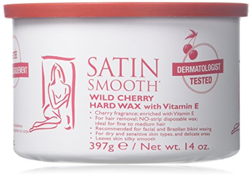Satin Smooth Wild Cherry Hard Wax with Vitamin E 14 oz. SSW14CH by Satin Smooth -