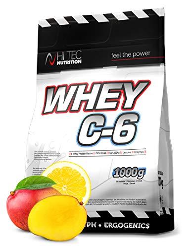Hi Tec Nutrition - Whey C6 1000g - Hydrolisat-Isolat-Konzentrat - Whey Protein - BCAA - Geschmack Mango - Lemon