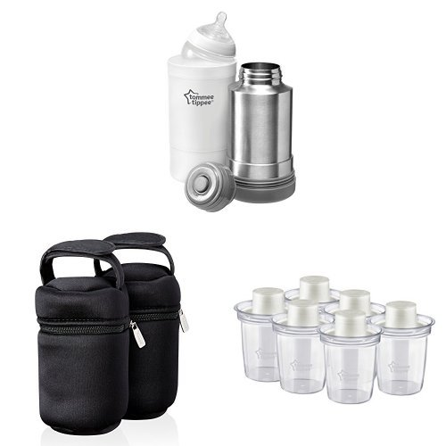 Tommee Tippee Closer to Nature Travel Food Warmer + Insulated Bottle Carriers + Milk Powder Dispensers Bundle