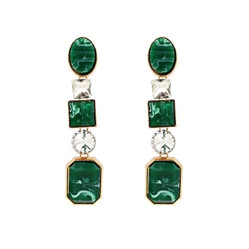 Escyq orecchiniabottoneorecchinipendentilineadell'orecchio colore pietre semi-preziose orecchini fashion stelle con geometrica gemma orecchini verde, onorevoli regalo di compleanno