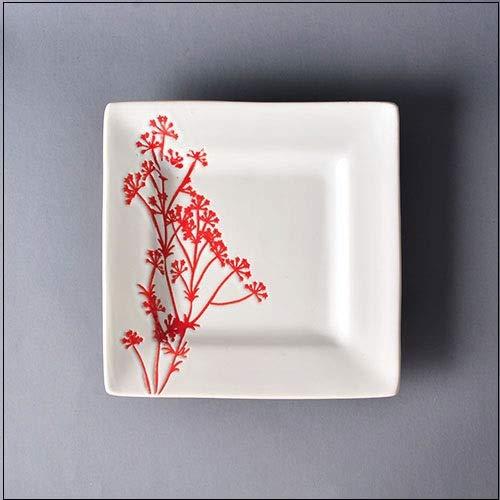 CXQ-Dining plate Assiette à dîner carrée pour Assiettes en Porcelaine, A 15.6 * 2.5cm