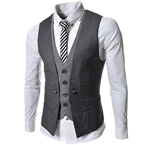 Lanmworn Herren Weste Slim Fit Mode Leicht Anzugweste, V-Ausschnit Jacke Vintage Business Vest Herrenweste FüR Hochzeit Fest Business Lässige (Button-up V-neck Cardigan)