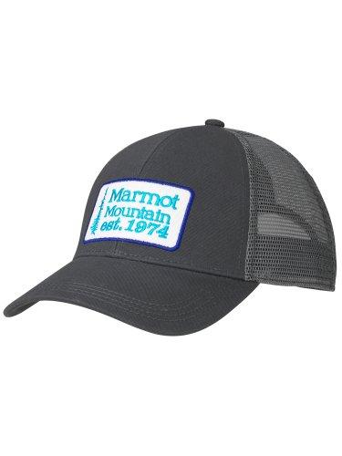 Marmot Erwachsene Retro Trucker Hat Baseballcap, Kappe Mit Uv-Schutz, Verstellbar, Für Outdoor, Sport Und Reisen, Black/Dark Steel/Black, ONE