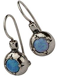 ac6f7a23e Silver Earrings Shablool Female 925 Sterling Silver Round Opal Blue