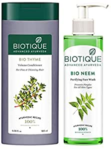 Biotique Bio Neem Purifying Face Wash, 200 ml And Biotique Bio Thyme Volume Conditioner for Fine and Thinning Hair, 180ml