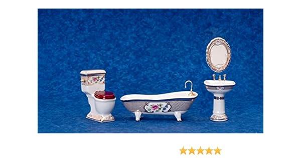 Dollhouse Miniature Blue /& White 5 Piece Bathroom Accessory Set