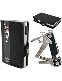 : Tarjeteros para Tarjetas De Credito Carteras Hombre Pequeña Protegida En Cuero Y Fibra De Carbono Aluminio Inteligente Protección contra El RFID NFC