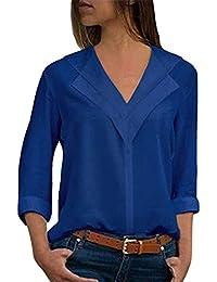 dd4c9e5a7adde OranDesigne Donna Camicetta Blusa Elegante Collo a V Maniche Lunghe T-Shirt  Camisetta Basic Estivo