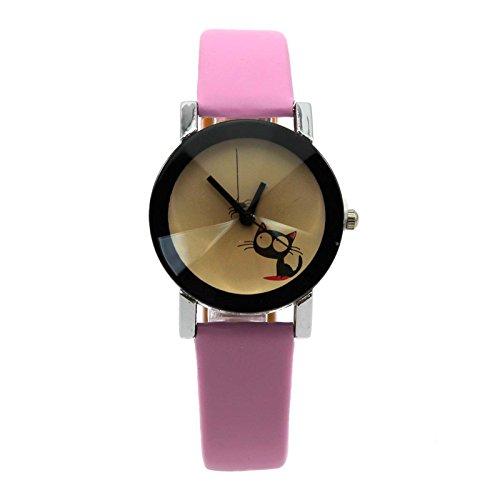 VANKER Casual reloj de cuarzo del reloj de tiempo del indicador del bonito regalo de la Mujer Gato lindo de la araña--rosa