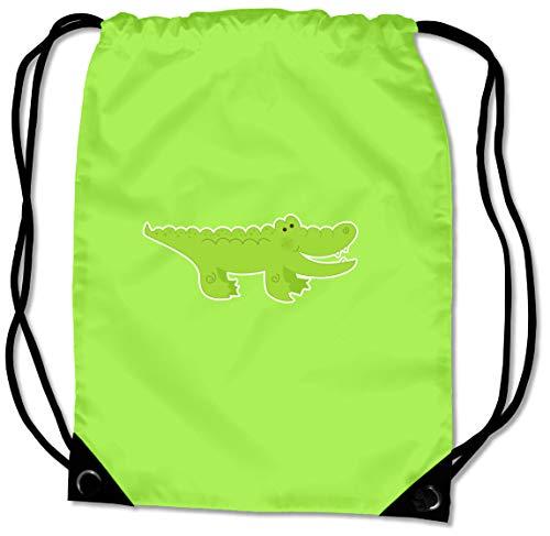 Samunshi® Turnbeutel Krokodil Sportbeutel für Schule Sport Sporttasche BG10 Gymsac 45x34cm Lime grün/Farbiger Aufdruck