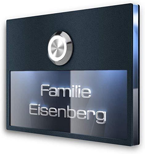 Türklingel Edelstahl Klingelschild LED-Klingeltaster & Beleuchtung - 3D-Gravur Beschriftung - Klingelplatte Unterputz-Montage (Anthrazit)