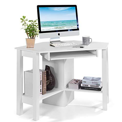 COSTWAY Schreibtisch Computerschreibtisch Computertisch Eckschreibtisch Winkelschreibtisch Bürotisch Corner Table Ecktisch Arbeitstisch Tastaturauszug 120 x 60 x 76,5cm (Weiß)