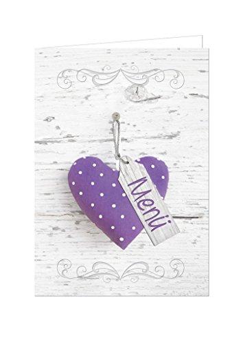 20 Stück Menükarten HERZ violett lila flieder gepunktet beschreibbar bedruckbar Speisekarten DIN A4 geklappt A5 Tischdeko Hochzeit Kommunion Taufe Geburtstag