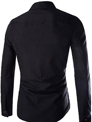 Jeansian Hommes Mode Chemise Slim Fit Tops Manches Longues Mens Casual Fashion Shirt 8753 Black
